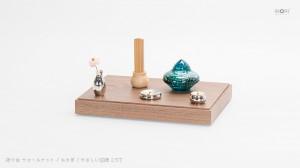 手元供養の飾り台・ミニ仏壇・供養ステージ「祈り台:いのりだい」ウォールナット 組み合わせ使用例