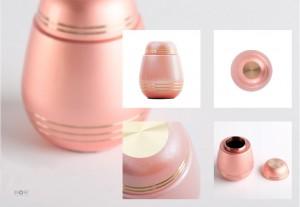 手元供養、金属の分骨用ミニ骨壷「モダンスタイル - ローズピンク」真鍮製