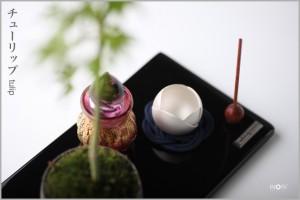 ミニ仏壇や供養ステージ「手元供養用仏具」のおりん花のりん。植物のカタチをあしらった可愛らしいおりん、コーディネイトイメージ。