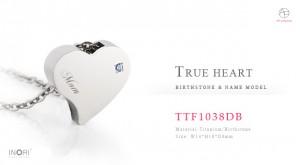 遺骨ペンダント防水仕様、遺骨を納める誕生石ペンダント ネームモデル「TTF1038DB」刻印あり