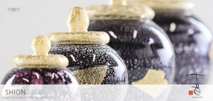 【手元供養】アートガラス製骨壷 七音シリーズ「紫音:しおん SSサイズ」