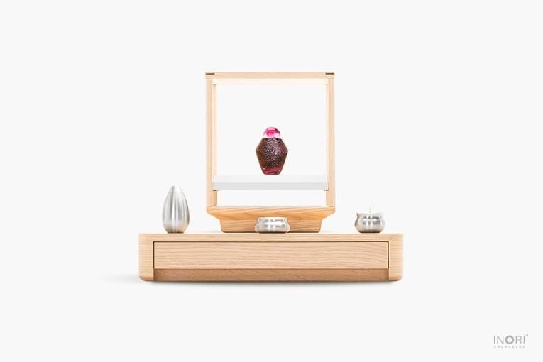 手元供養仏壇 A4-006と手元供養ミニ骨壷れんげ