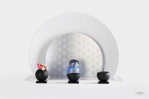ノンノン仏壇 nonnon ホワイトシルバー 丸型/ こるり