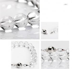 「遺骨を納められる」天然石納骨ブレスレット 念珠タイプ 10mm玉水晶 拡大イメージ
