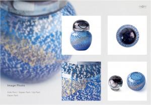 「手元供養用」アートガラス製骨壷 七音:ななおと ミニシリーズ「こるり」オープンイメージ