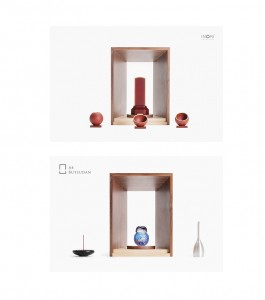 手元供養ミニ仏壇 「A4仏壇:エーヨン仏壇」 A4-004 ウォールナット A4サイズのお仏壇。組み合わせ例。