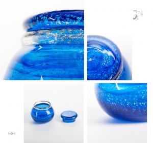 【手元供養】アートガラス製の喉ぼとけ用分骨壷「るり:RURI」大口径モデル 七音|ななおと
