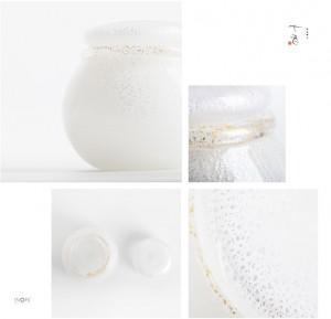 【手元供養・喉ぼとけ用分骨ミニ骨壷】大口径モデル「真珠:しんじゅ」純金箔×シルバー箔