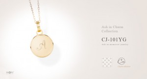 【遺骨ペンダント】K18イエローゴールド アッシュイン・チャーム「CJ-101YG:アルファベットモデル」遺骨を納めるジュエリー